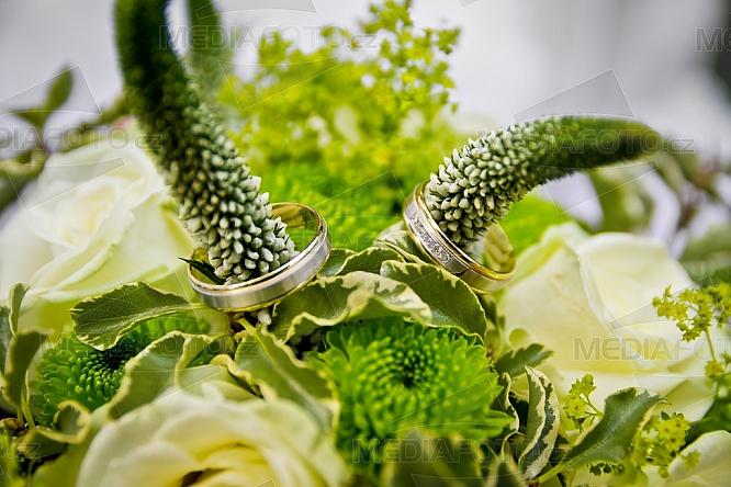 Svatba, kytice, květina, prsten