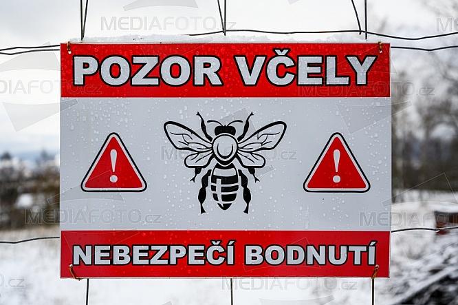Cedule, značka, varování, Pozor včely, nebezpečí bodnutí