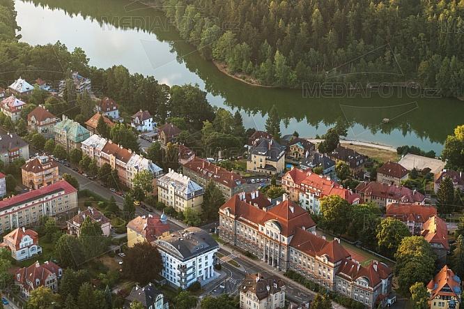 Přehrada Harcov, Liberec, letecky, budova