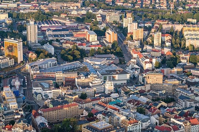 Liberec, centrum, letecky, město