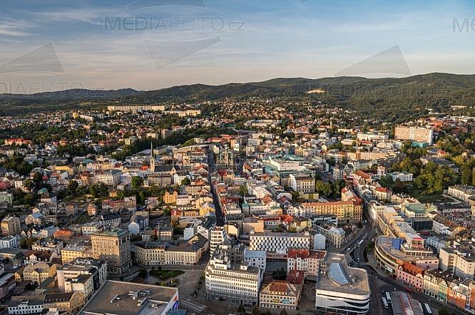 Liberec, centrum, letecky