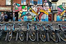 Půjčovna kol, graffitti, dům, zeď, umění, cyklistika