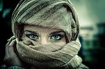 dívka, žena, pohled, oči, šátek, zahalená