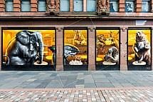 Restaurace, umění, ulice, Glasgow