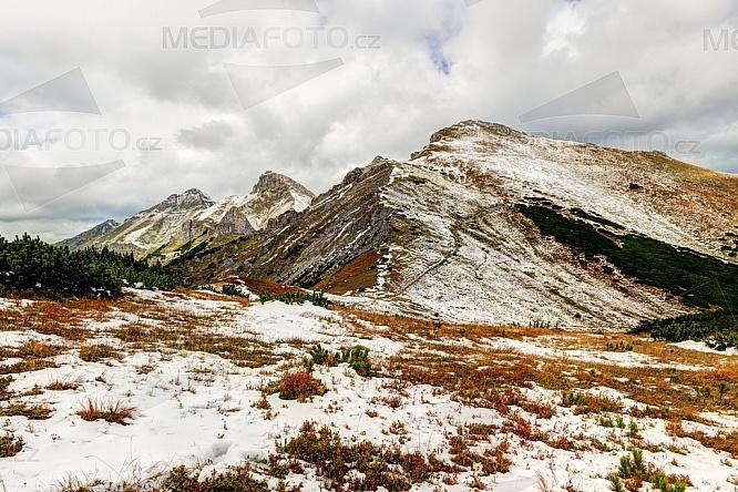 Kopské sedlo, Vrchol Hlúpy, Belianské Tatry, hory, podzim