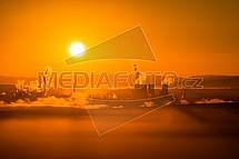 Chemopetrol Litvínov, důl, uhlí, východ slunce
