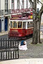 Tramvaj, doprava, Lisabon, žebrák