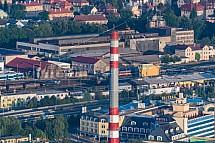 Teplárna, komín , Liberec, letecky
