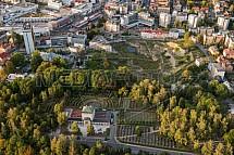 Krematorium, hřbitov, Liberec, letecky