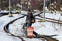 Přechod, koleje, železnice, trať, nebezpečí