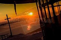 Ještěd, Liberec, východ slunce, inverze
