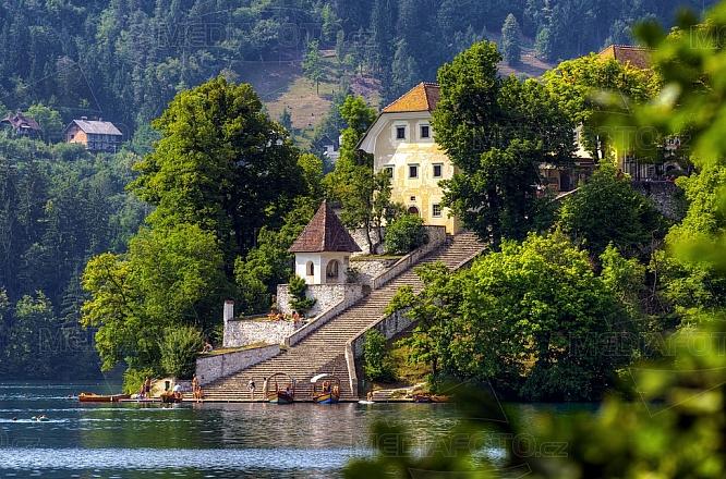 ostrov, Bled, jezero, schody