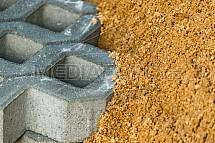 dlažba, písek, stavba