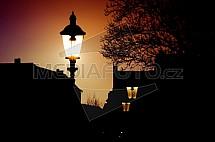 Pouliční lampa, osvětlení, slunce