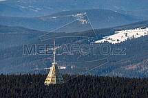 Černá hora, vysílač, Krkonoše, letecky