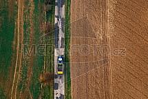Traktor, silnice, zemědělství, pole, doprava