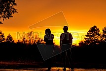 Západ slunce, silueta, muž, žena, pár