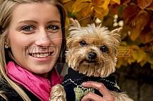 Yorkšírský teriér, pes, žena, dívka