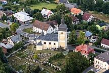 Kostel sv. Vavřince, Dlouhý Most, letecky