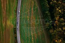 Silnice, automobil, pole, podzim, letecky