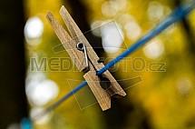 Kolíček, dřevěný, šňůra