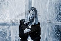 dívka, žena, telefon, komunikace