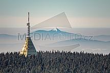 Černá hora, vysílač, Krkonoše, Ještěd, letecky