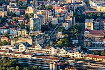 ČR, Liberec, letecky, nádraží, ČD, České dráhy, koleje, vlak, nástupiště, zastávka