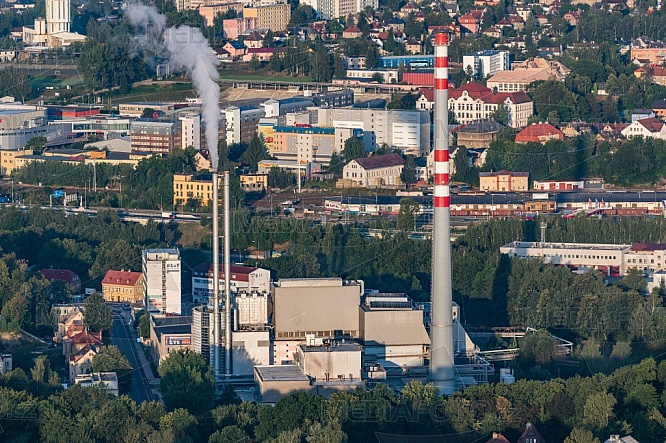 Teplárna a Spalovna, Liberec, letecky, budova