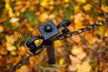 Podzim, listy, řetěz, plot, sloupek