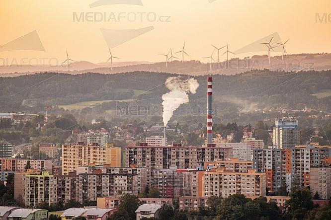 Liberec, komín, letecky