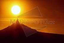 Ještěd, slunce, západ