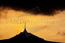 Ještěd, západ slunce