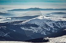 Ještěd, hory, zima, Krkonoše, letecky
