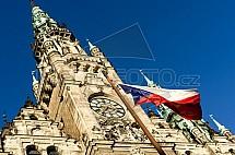 radnice, vlajka, státní, věž
