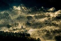 Les, mlha, podzim, ráno, letecky