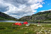 Norsko, hory, stanování, kemping