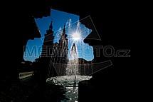 Mírové náměstí, Kadaň, kostel, kašna
