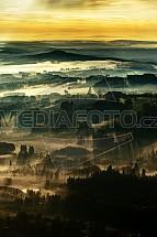 Krajina, Český ráj, ráno, mlha, letecky