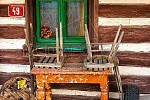 stůl, židle, chalupa, okno