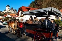 Karlštejn, hrad, kůň, povoz