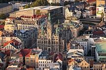 Radnice Liberec, centrum, letecky