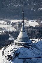 Ještěd, hotel, vysílač, Liberec, letecký, sníh