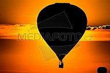 Horkovzdušný balon, západ, slunce