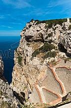 Schody, útes, Grotta di Nettuno, Cappo Caccia