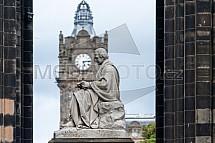 Edinburgh, socha, věž, hodiny