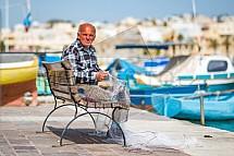 Rybář, síť, Marsaxlokk, Malta