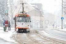 Tramvaj, Liberec, sníh