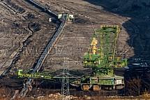 Rypadlo, pásový dopravník, důl Turów