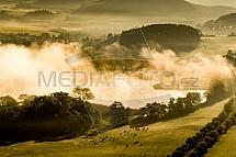 Velký chotilský rybník, ráno, mlha